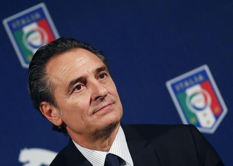 Italy's soccer national team coach Cesare Prandelli looks on during a news conference for the presentation of the new official strip for World Cup 2014 in Milan March 3, 2014. REUTERS/Stefano Rellandini/Files