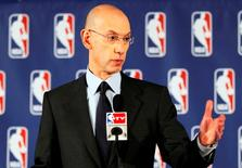 p Apr 29, 2014; New York, NY, USA; NBA commissioner Adam Silver addresses the media regarding the investigation involving Los Angeles Clippers owner Donald Sterling (not pictured) at New York Hilton Midtown. Andy Marlin-USA TODAY Sports