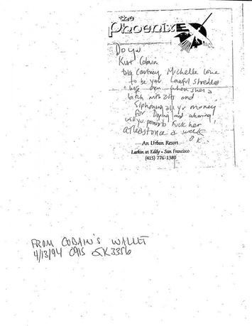 A note police found in Nirvana singer Kurt Cobain's wallet following his 1994 suicide deriding rocker-wife Courtney Love in a mock marriage vow is shown in this handout photo released to Reuters April 30, 2014.  REUTERS/Seattle Police Department/Handout