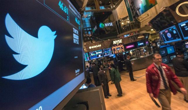 The Twitter logo is displayed on the floor of the New York Stock Exchange, November 8, 2013. REUTERS/Brendan McDermid/Files