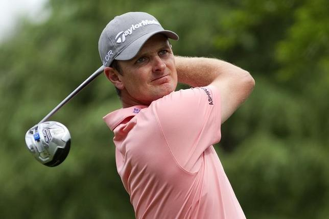 May 1, 2014; Charlotte, NC, USA; Justin Rose tees off on the eleventh hole during the first round of the Wells Fargo Championship at Quail Hollow Club. Joshua S. Kelly-USA TODAY Sports