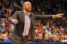 Jan 2, 2014; Oklahoma City, OK, USA;  Brooklyn Nets head coach Jason Kidd yells to his team in action against the Oklahoma City Thunder at Chesapeake Energy Arena. Mark D. Smith-USA TODAY Sports