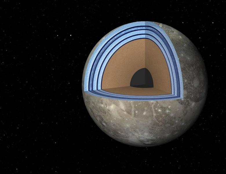 This artist's concept of Jupiter's moon Ganymede, the largest moon in the solar system, illustrates the ''club sandwich'' model of its interior oceans. REUTERS/NASA/JPL-Caltech/Handout