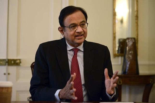 Finance Minister Palaniappan Chidambaram speaks during a news conference in New York, April 17, 2013. REUTERS/Keith Bedford/Files