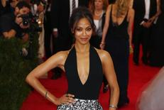 "Actress Zoe Saldana arrives at the Metropolitan Museum of Art Costume Institute Gala Benefit celebrating the opening of ""Charles James: Beyond Fashion"" in Upper Manhattan, New York, May 5, 2014. REUTERS/Lucas Jackson"
