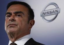 Le PDG de Nissan, Carlos Ghosn. Le groupe japonais a réalisé sur l'exercice clos fin mars un bénéfice net en hausse de 14% à 389,03 milliards de yens et un bénéfice d'exploitation en progression de 13,6% à 498,37 milliards./Photo prise le 12 mai 2014/REUTERS/Yuya Shino