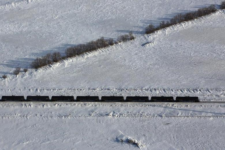 An aerial view shows a train entering a depot outside of Williston, North Dakota, March 12, 2013.   REUTERS/Shannon Stapleton