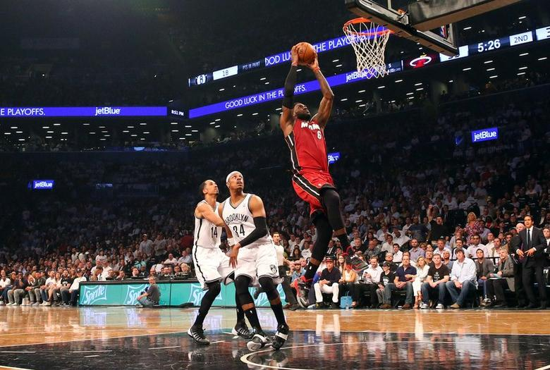 May 12, 2014; Brooklyn, NY, USA;  Miami Heat forward LeBron James (6) drives up to the basket during the second quarter against the Brooklyn Nets in game four of the second round of the 2014 NBA Playoffs at Barclays Center. Anthony Gruppuso-USA TODAY Sports