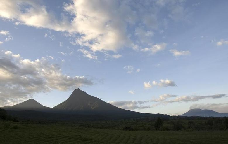 The sun rises over Mount Mikeno (C) in the Virunga National Park, Eastern DRC December 12, 2008. REUTERS/Peter Andrews (DEMOCRATIC REPUBLIC OF CONGO) - RTR22J0C