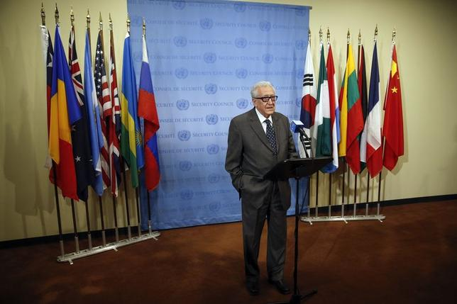 UN-Arab League Envoy to Syria Lakhdar Brahimi speaks to the media after Security Council consultations at the United Nations headquarters in New York May 13, 2014. REUTERS/Shannon Stapleton