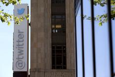 The Twitter logo is pictured at its headquarters on Market Street in San Francisco, California April 29, 2014. REUTERS/Robert Galbraith