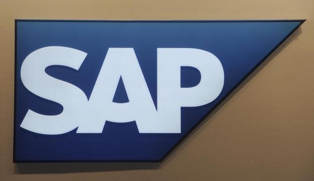 Logo of German company SAP is pictured at the CeBit computer fair in Hanover, March, 6, 2012. REUTERS/Fabian Bimmer/Files