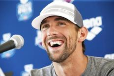 Apr 25, 2014; Mesa, AZ, USA; Michael Phelps at a press conference after swimming the 50m freestyle prelims during the Arena Grand Prix at Skyline Aquatic Center. Mandatory Credit: Rob Schumacher-USA TODAY Sports