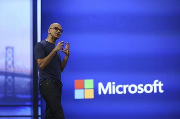 Microsoft CEO Satya Nadella gestured during his keynote address at the company's  ''build'' conference in San Francisco, California April 2, 2014. REUTERS/Robert Galbraith/Files