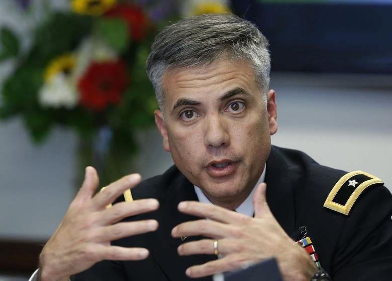Army Cyber Command Brigadier General Paul Nakasone talks during a Reuters CyberSecurity Summit in Washington May 12, 2014.  REUTERS/Larry Downing