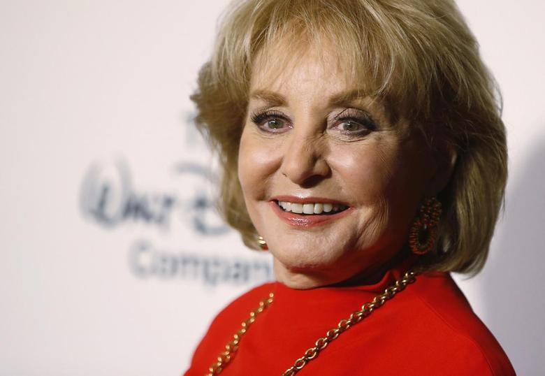 Journalist Barbara Walters aarrives for ''A Celebration of Barbara Walters Cocktail Reception'' in New York May 14, 2014.  REUTERS/Carlo Allegri