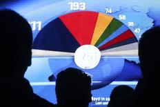 Экран с предварительными итогами выборов в Европарламент, Брюссель, 25 мая 2014 года. Евроскептики Франции и Великобритании одержали оглушительную победу на выборах в Европарламент: критики ЕС более чем вдвое увеличили количество мест, поскольку избиратели голосовали против мер жесткой экономии и безработицы. REUTERS/Francois Lenoir