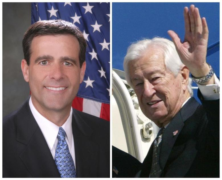 A combination photo shows Tea Party-backed John Ratcliffe (L), a former U.S. Attorney, in his campaign handout photo and Rep. Ralph Hall (R-TX) in Dallas, Texas in this March 8, 2004 file photo. REUTERS/Ratcliffe For Congress/Handout via Reuters (L) and REUTERS/Kevin Lamarque/Files