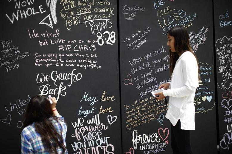 Students sign on a remembrance wall in the Isla Vista neighborhood of Santa Barbara, California May 27, 2014. REUTERS/Lucy Nicholson