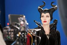 Angelina Jolie as Maleficent in this undated handout photo on the set of the movie Maleficent. REUTERS/Disney Enterprises/Keith Hampshere