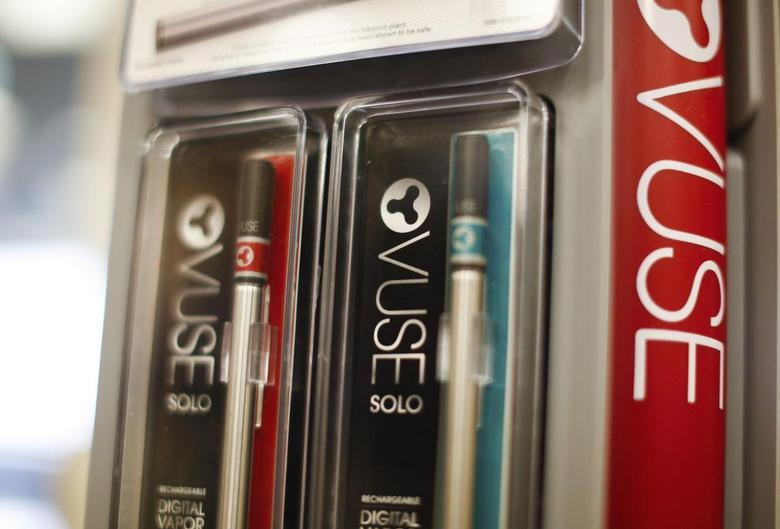A detail view of the retail packaging for the new VUSE digital vapor cigarette is seen during a news conference at Reynolds American in Tobaccoville, North Carolina May 23, 2014.  REUTERS/Chris Keane