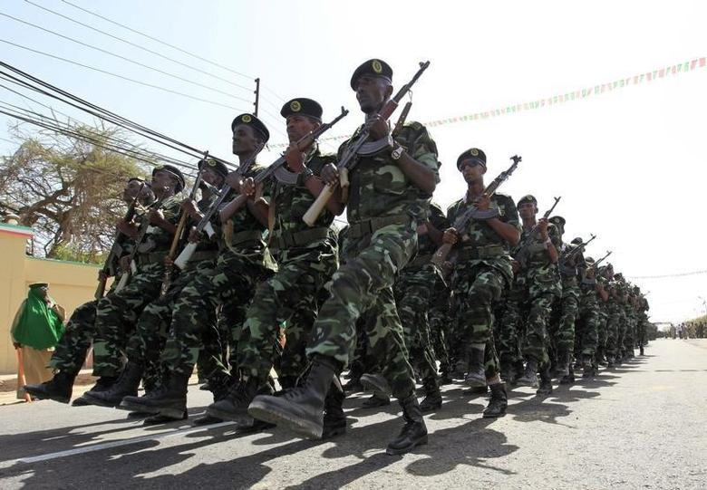 Somaliland troops march past during a parade to mark the 22nd anniversary of Somaliland's self-declared independence from the larger Somalia, in Hargeisa May 18, 2013. REUTERS/Feisal Omar