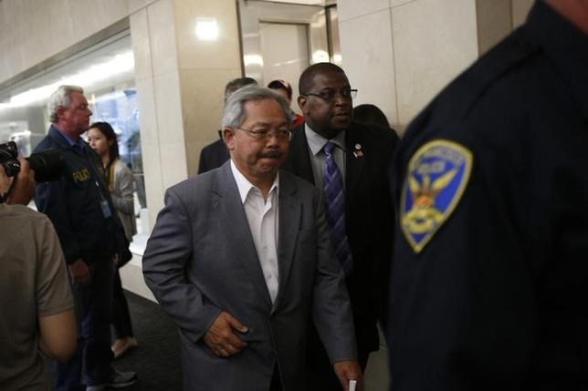 San Francisco Mayor Ed Lee leaves after a news conference at San Francisco International Airport in San Francisco July 6, 2013. REUTERS/Stephen Lam