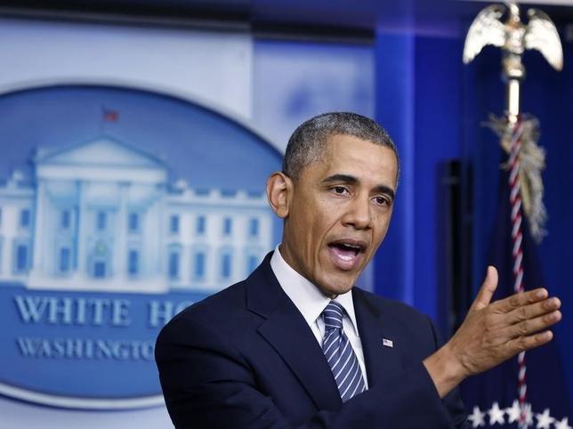 U.S. President Barack Obama announces the resignation of U.S. Secretary of Veteran Affairs Eric Shinseki after meeting with Shinseki at the White House in Washington, May 30, 2014. REUTERS/Larry Downing