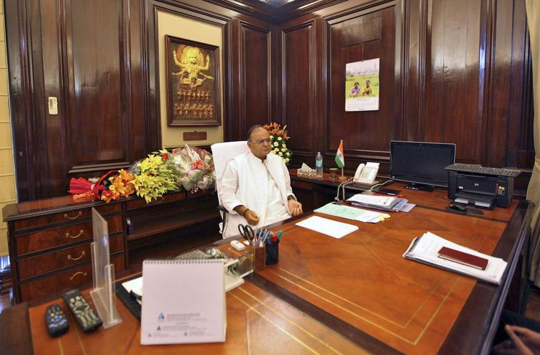 India's new Finance Minister Arun Jaitley sits inside his office at the finance ministry in New Delhi May 27, 2014. REUTERS/Stringer