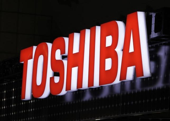 A view shows Toshiba Corp's logo at the fourth International Photovoltaic Power Generation (PV) Expo in Tokyo March 2, 2011. REUTERS/Yuriko Nakao/Files