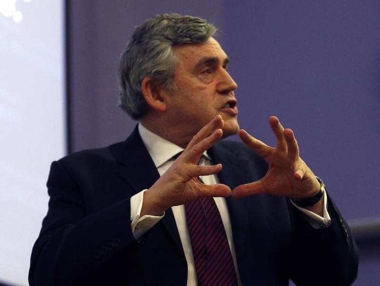 Former British Prime Minister Gordon Brown gives a speech at Glasgow University in Glasgow, Scotland April 22, 2014, on behalf of the ''Better Together Campaign''. Scotland will hold a referendum on independence on September 18, 2014.  REUTERS/Russell Cheyne