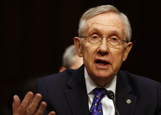 U.S. Senate Majority Leader Harry Reid talks during the Senate Judiciary Committee hearing on campaign finance reform on Capitol Hill in Washington, June 3, 2014. REUTERS/Larry Downing