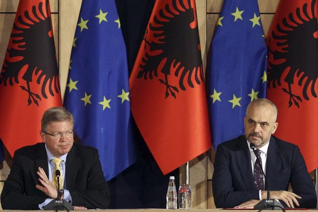 European Union Enlargement Commissioner Stefan Fuele (L) attends a news conference with Albania's Prime Minister Edi Rama in Tirana June 4, 2014. REUTERS/Arben Celi