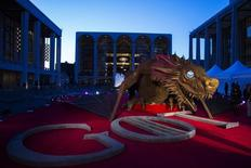 "A dragon statue stands on a red carpet in preparation for the season four premiere of the HBO series ""Game of Thrones"" in New York March 18, 2014. REUTERS/Lucas Jackson"