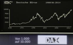 En la foto, el gráfico del índice bursátil alemán Dax desde 1988 hasta 2014. El rendimiento de la deuda pública española a 10 años caía a un nuevo mínimo histórico y el diferencial frente a bono del Gobierno alemán se situaba en los niveles más bajos de casi cuatro años, tras la nueva ola de estímulos del Banco Central Europeo para luchar contra la amenaza de la deflación. REUTERS/Remote/Stringer  (GERMANY - Tags: BUSINESS)