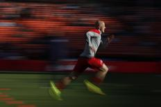Michael Bradley of the U.S. men's national soccer team warms up before a friendly soccer match against Azerbaijan men's national soccer team in San Francisco, California May 27, 2014. Picture taken May 27, 2014. REUTERS/Stephen Lam