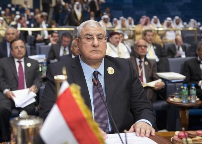 Egypt's interim president Adly Mansour attends the closing session of the 25th Arab Summit in Bayan Palace,Kuwait March 26, 2014. REUTERS/Stephanie McGehee