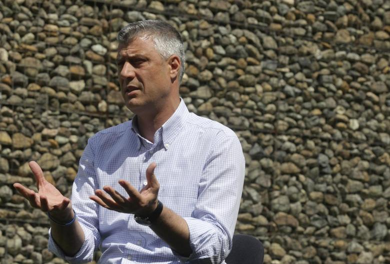 Kosovo Prime Minister Hashim Thaci speaks during an interview with Reuters in Gjakova June 2, 2014. REUTERS/Hazir Reka