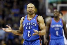 Oklahoma City Thunder guard Derek Fisher (6) contests a call during second half action of game three against the Memphis Grizzlies in the Western Conference semifinals of the NBA playoffs in Memphis, Tennessee May 11, 2013. REUTERS/Lance Murphey