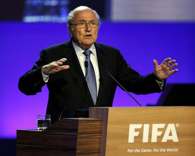 FIFA President Sepp Blatter delivers a speech during the opening ceremony of the 65th FIFA Congress in Sao Paulo June 11, 2014.  REUTERS/Paulo Whitaker