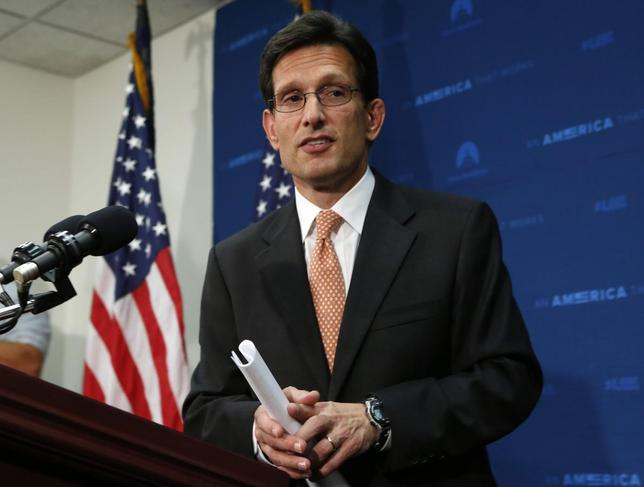 U.S. House Majority Leader Eric Cantor (R-VA) leaves after a news conference at the U.S. Capitol in Washington June 11, 2014. REUTERS/Yuri Gripas