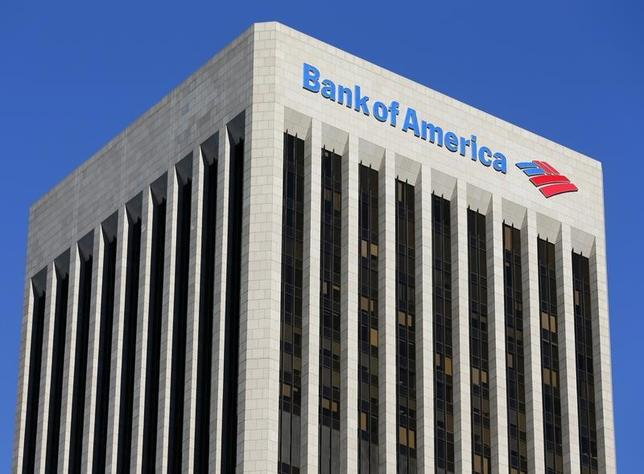 A Bank of America sign is shown on a building in downtown Los Angeles, California January 15, 2014. REUTERS/Mike Blake