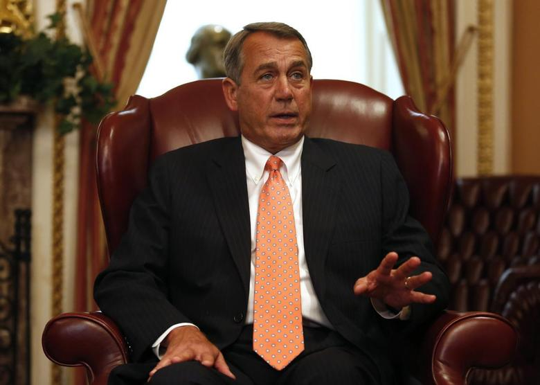 U.S. House Speaker John Boehner talks to reporters during his meeting with Australian Prime Minister Tony Abbott at the U.S. Capitol building in Washington June 11, 2014. REUTERS/Yuri Gripas
