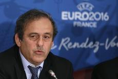 Presidente da Uefa, Michel Platini, durante coletiva de imprensa antes da Euro 2016, em abril. 25/4/2014 REUTERS/Arquivo/Jacky Naegelen