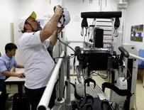 Brazilian neuroscientist Miguel Nicolelis works in his robotic laboratory in Sao Paulo May 21, 2014.  REUTERS/Paulo Whitaker