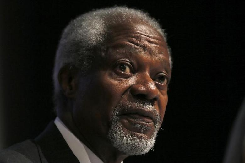 Chair of the Africa Progress Panel, Kofi Annan, attends a media launch of the Africa Progress Report 2014 in London May 8, 2014.    REUTERS/Stefan Wermuth