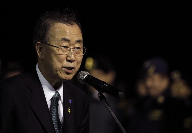 United Nations Secretary-General Ban Ki-moon speaks after his arrival at Viru Viru International Airport in Santa Cruz de la Sierra June 12, 2014.  REUTERS/David Mercado