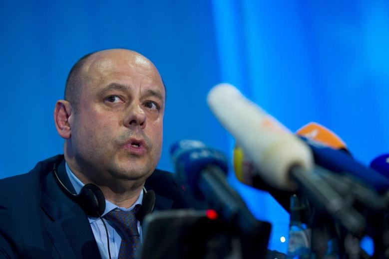 Ukrainian Minister for Energy Yuri Prodan speaks during a news conference after EU-Ukraine-Russia energy negotiations at the EU commission representation in Berlin May 30, 2014.  REUTERS/Thomas Peter