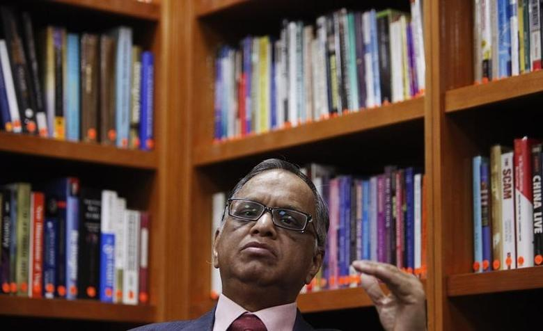 N. R. Narayana Murthy, founder and chairman of Infosys, listens to a question during an interview with Reuters at the company's office in Bangalore February 28, 2012. Picture taken on February 28, 2012. REUTERS/Vivek Prakash