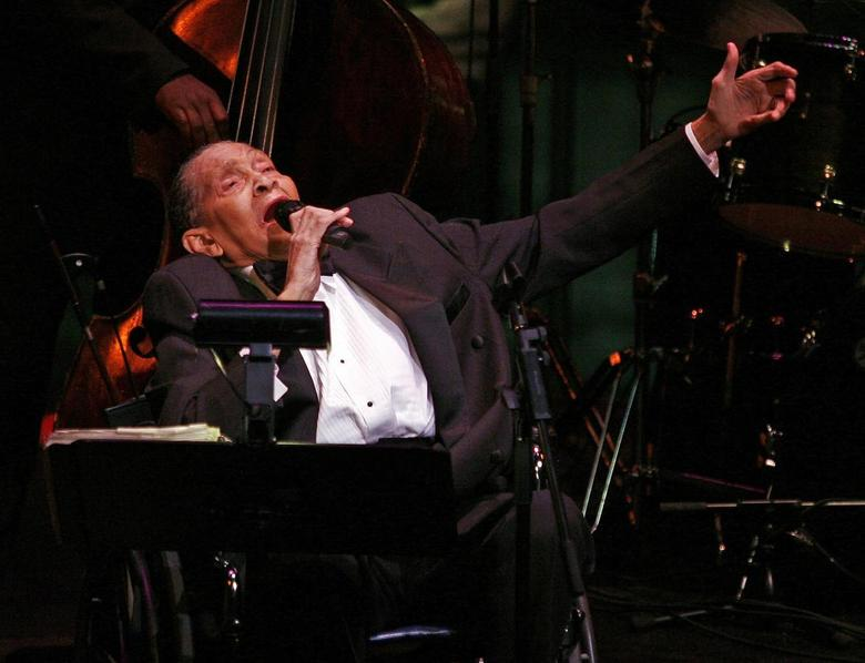 Jazz singer Jimmy Scott performs at the Allen Room at Lincoln Center in New York in this file photo taken February 22 , 2008. REUTERS/Shannon Stapleton/Files